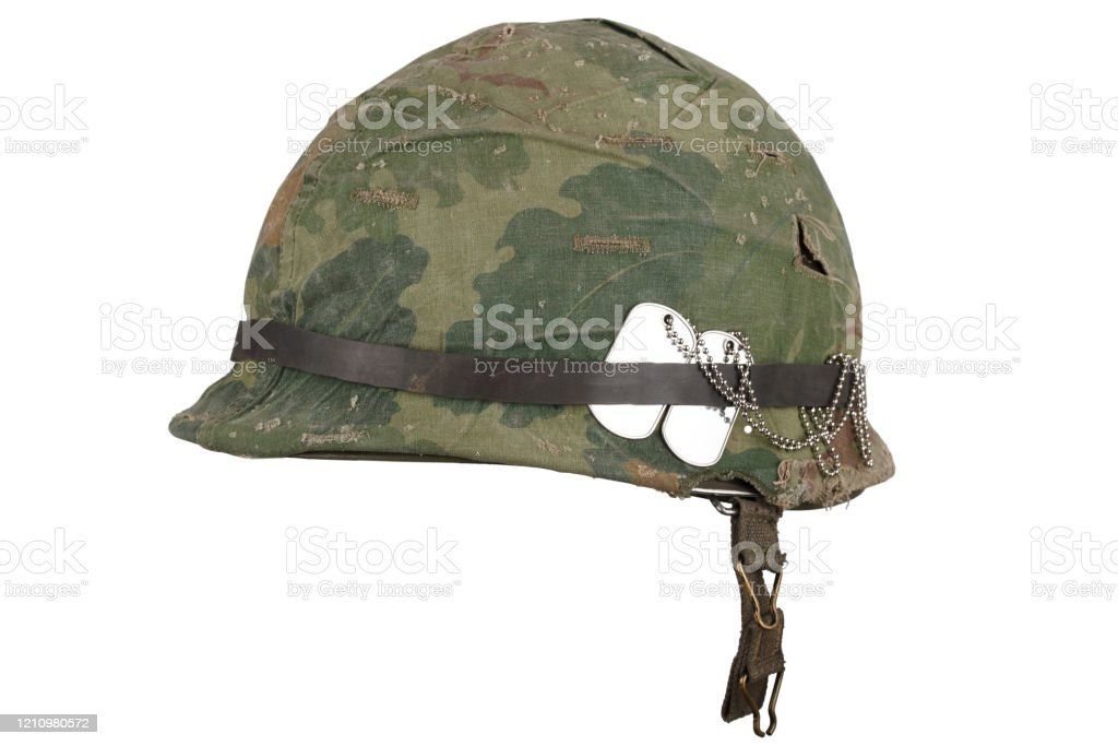 Us Army Helmet Vietnam War Period With Camouflage Cover Goggles And Dog Tags Stock Photo Download Image Now Istock