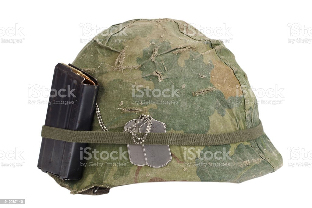 Us Army Helmet Vietnam War Period With Camouflage Cover Magazine With Ammo And Dog Tags Stock Photo Download Image Now Istock