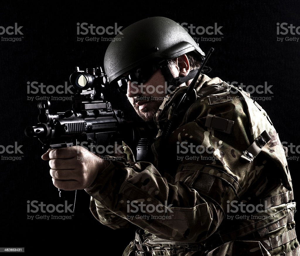 Army in close combat stock photo