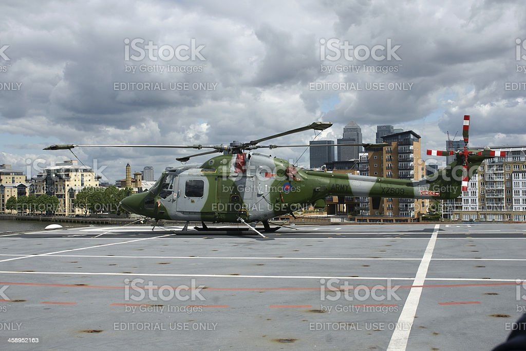 Army Lynx Helicopter London July 2012 stock photo