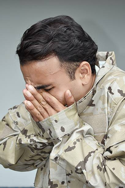 Army Male Soldier And Depression stock photo