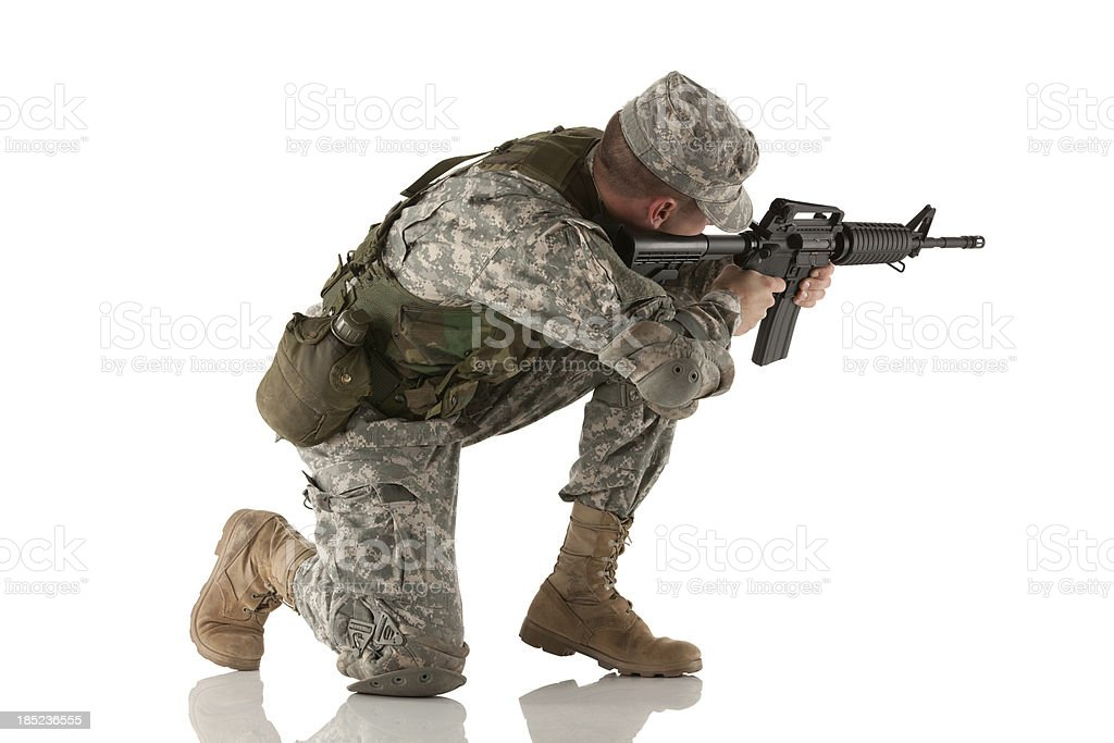 Army man aiming with a rifle royalty-free stock photo