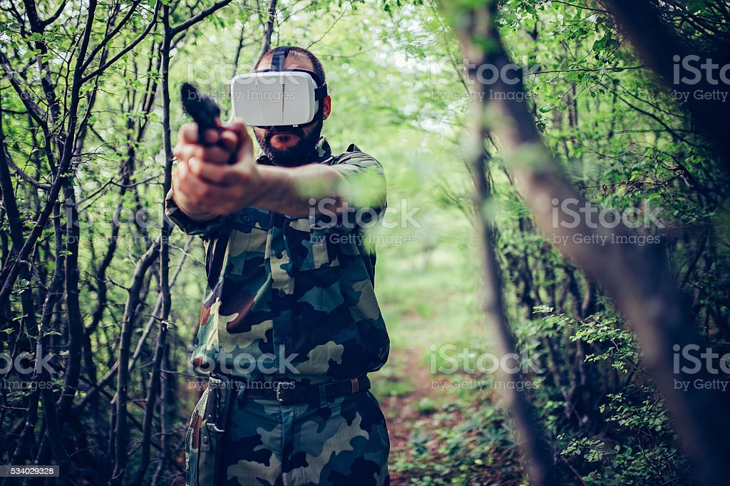 Army man in virtual world stock photo