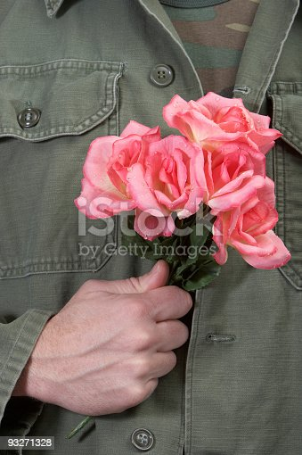 istock Army Man with Pink Carnations 93271328