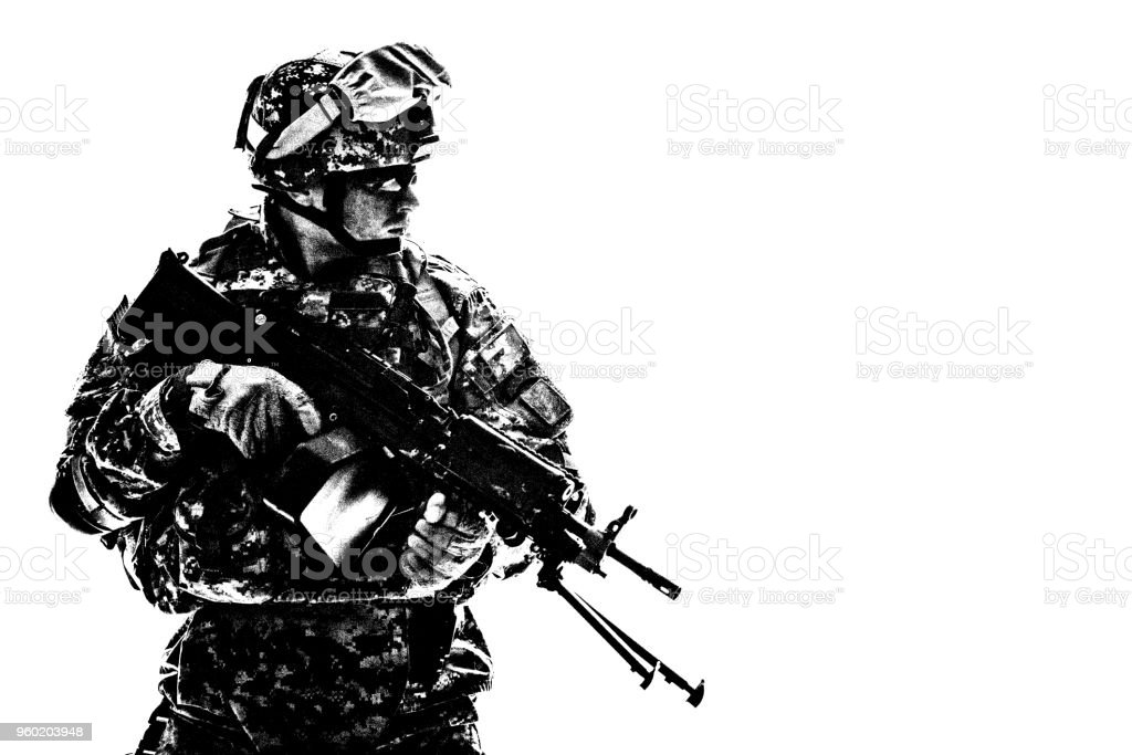 US Army Marines Corps shooter with machine gun - Stock image .