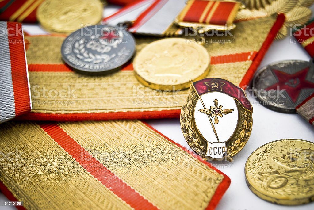 USSR army medals and badges royalty-free stock photo