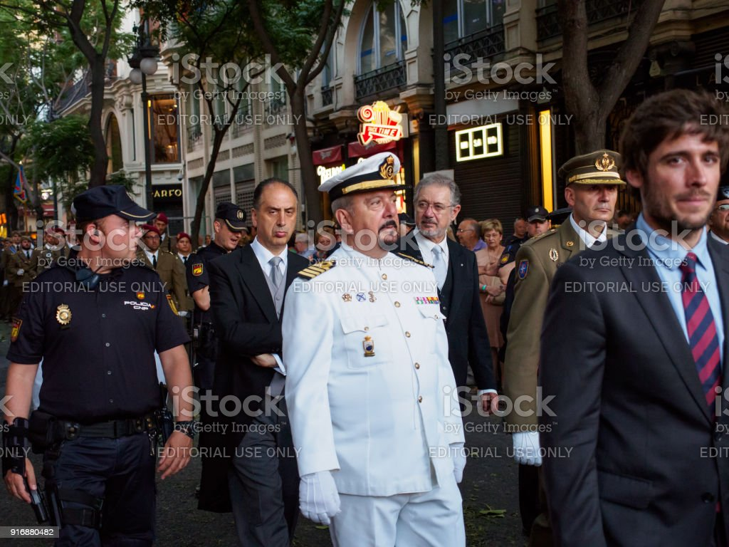 Army, naval, and government officials participate in march of Corpus Christi, Valencia, Spain stock photo