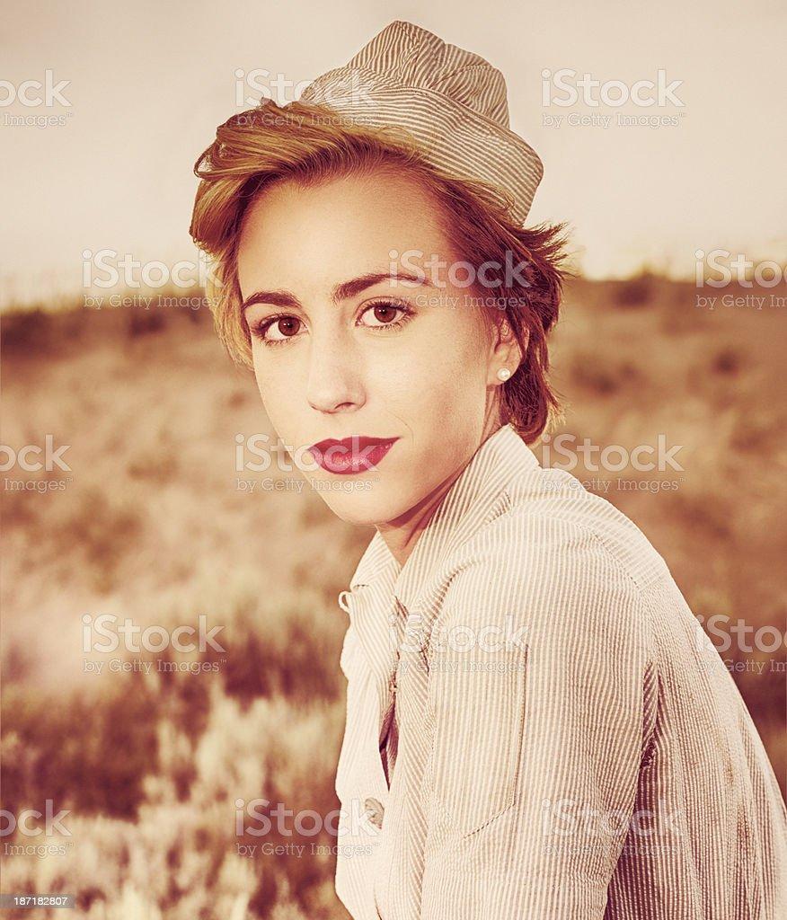 WWII Army Nurse - Outdoor Portrait stock photo
