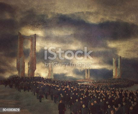 84743203 istock photo Army of businessmen robots walking towards corporate temples 504583629