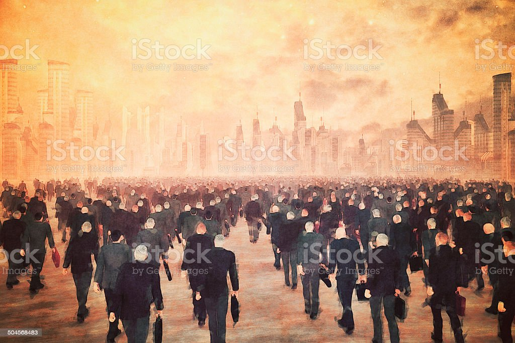 Army of businessmen zombies walking into the corporate city stock photo