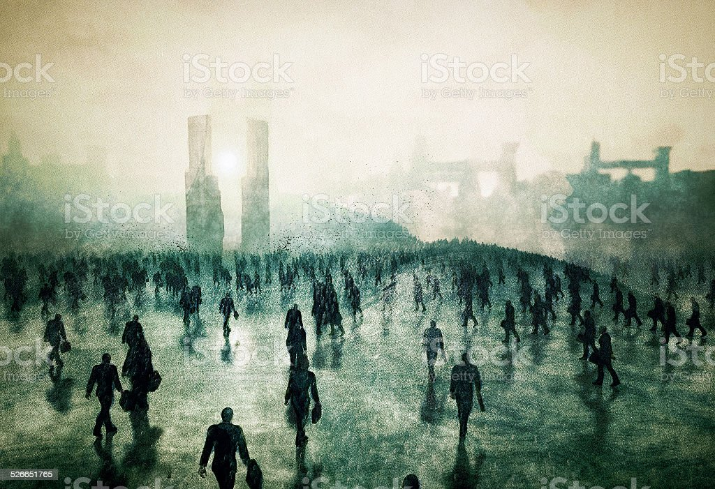 Army of businessmen zombies walking into the urban corporate hell stock photo
