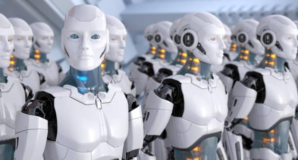 ejército de robots - robot fotografías e imágenes de stock