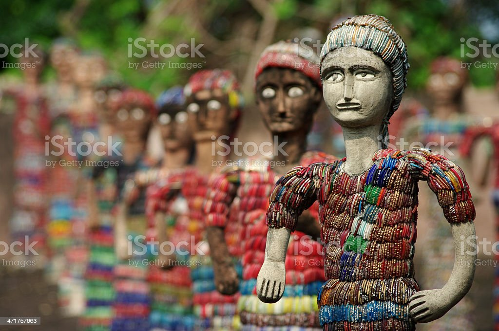 army of statuettes in Chandigarh stock photo