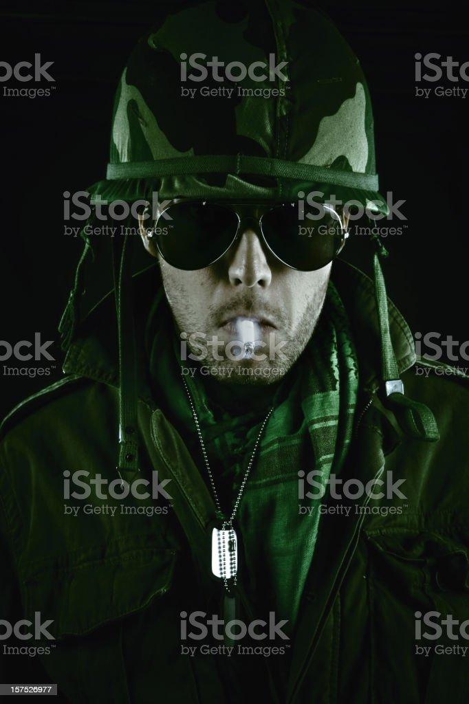 army officer smoking a cig stock photo