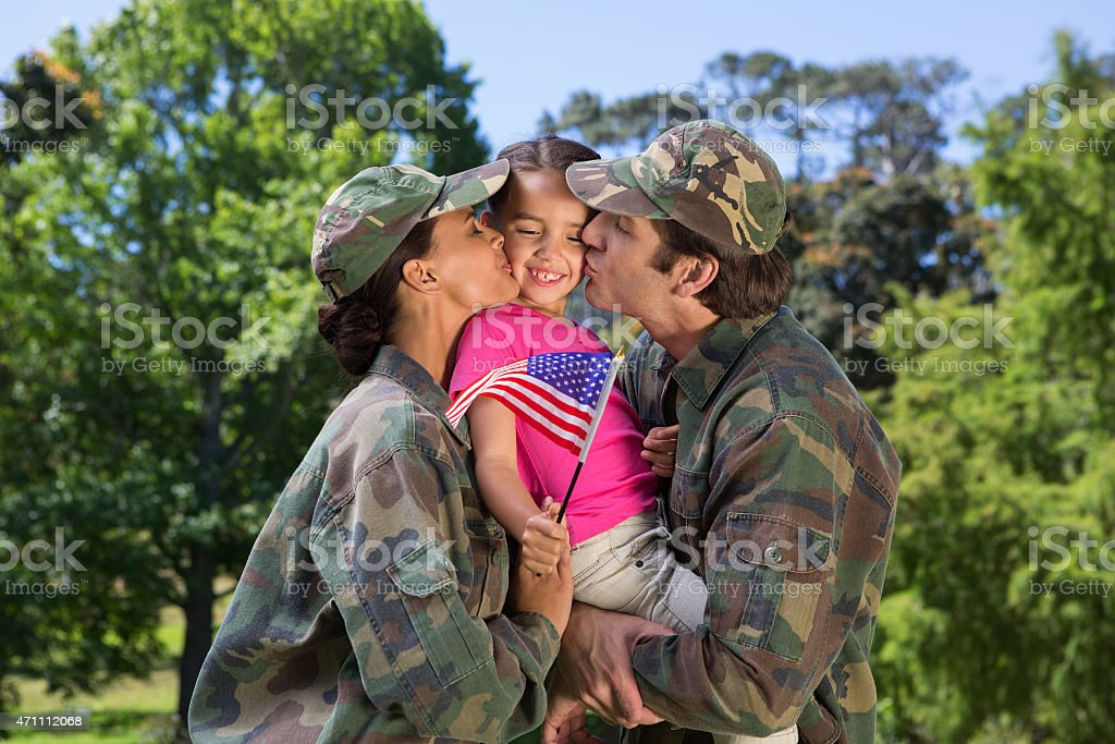 Army parents reunited with their daughter stock photo