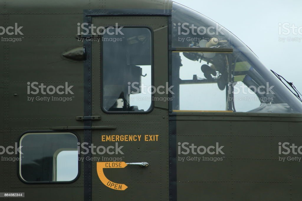 army plane, cockpit and emergency exit stock photo