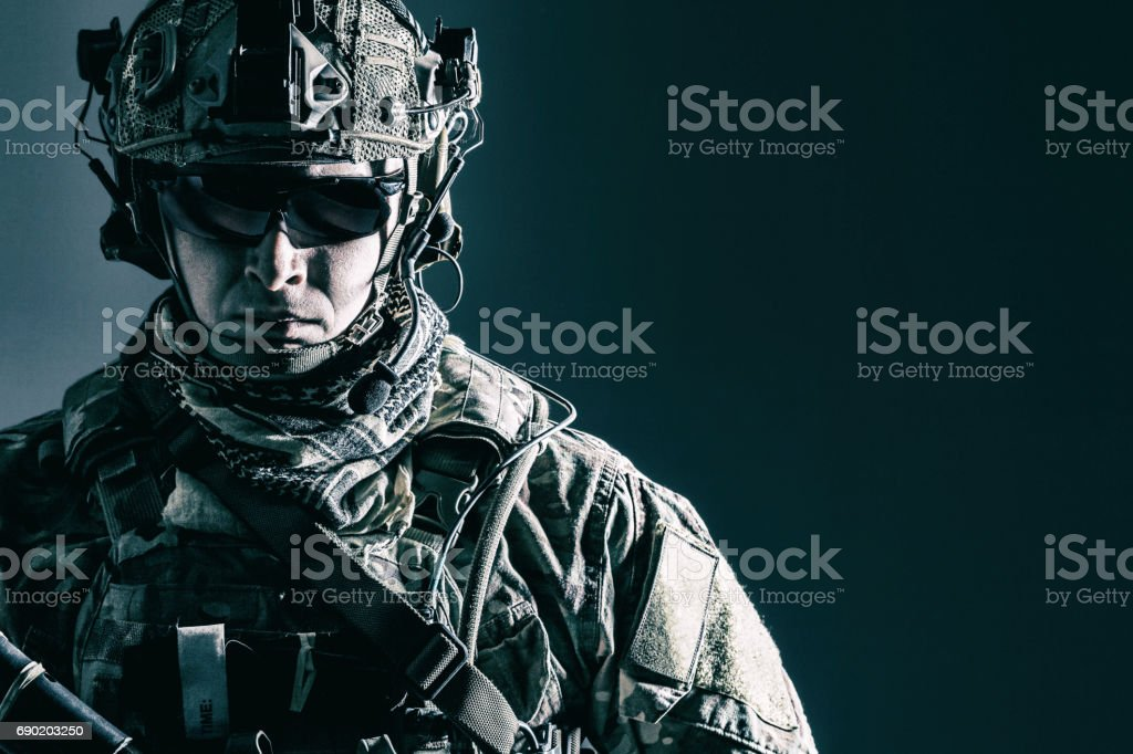 US Army Ranger close-up stock photo