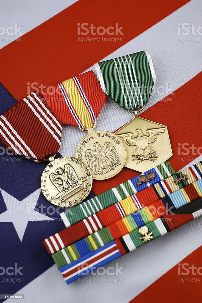 U.S. Army Ribbons and Medals on Flag Background royalty-free stock photo