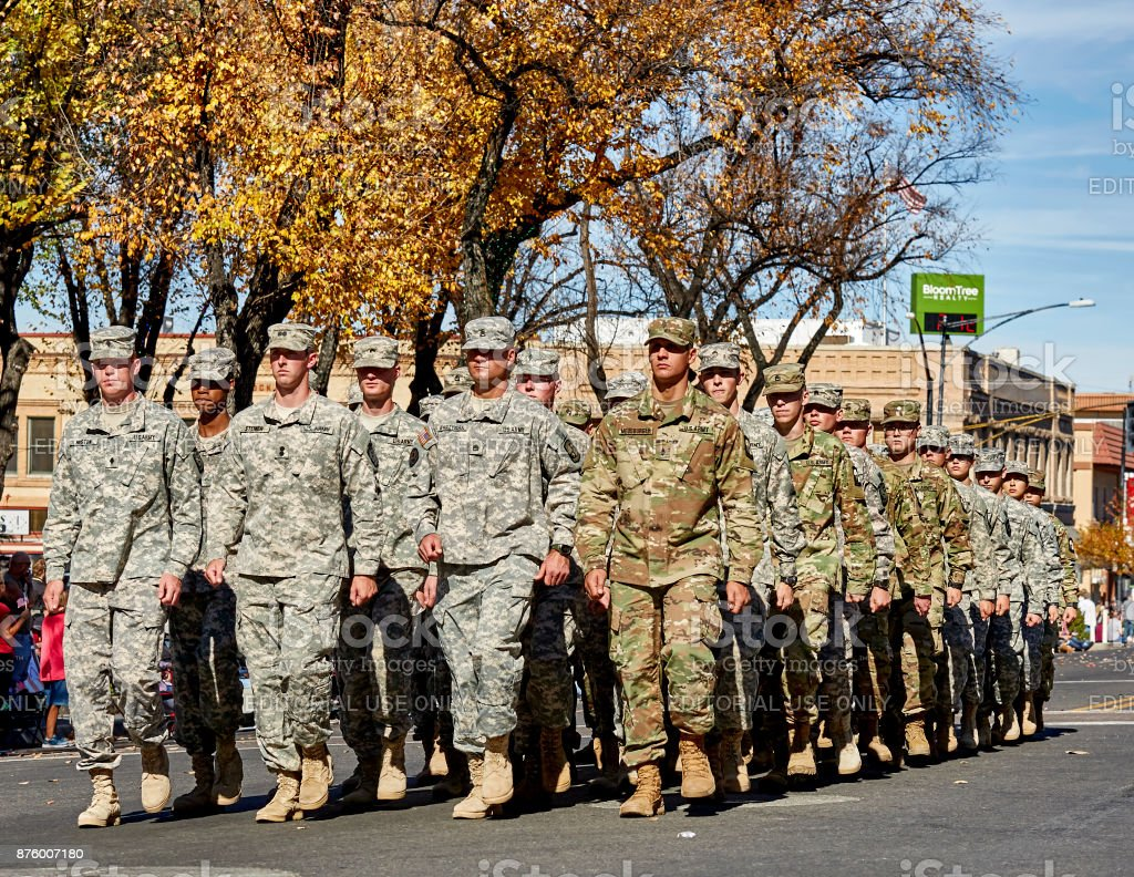 Army ROTC in Veterans Day Parade stock photo