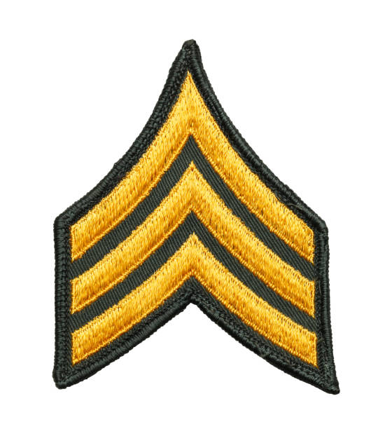 Army Sergeant Patch Three Striped Army Patch Isolated on White Background. sergeant stock pictures, royalty-free photos & images