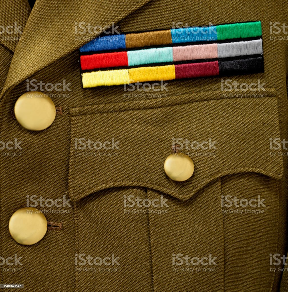 Army Service stripes on jacket stock photo