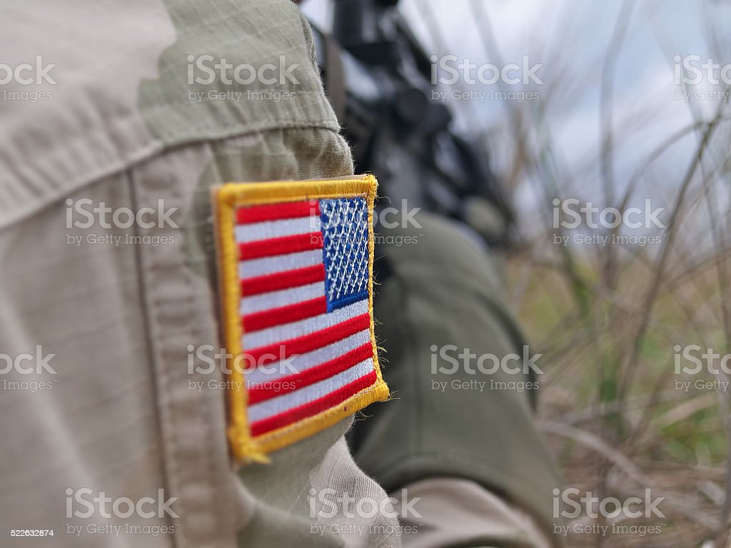 US Army soldier in action stock photo