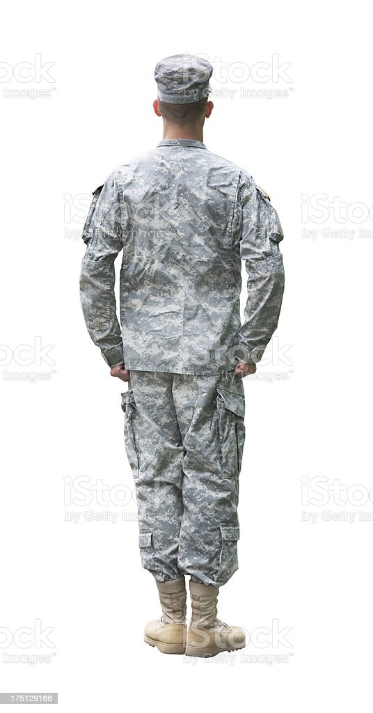 US Army soldier in 'Attention' position isolated on white backgr royalty-free stock photo