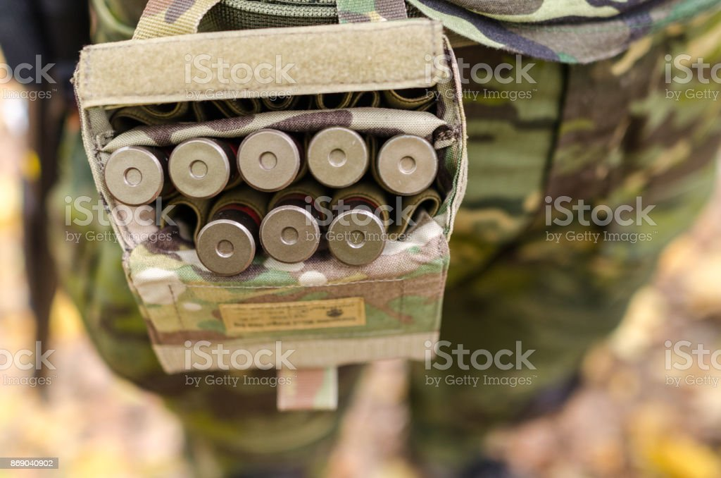 Army soldier in forest stock photo