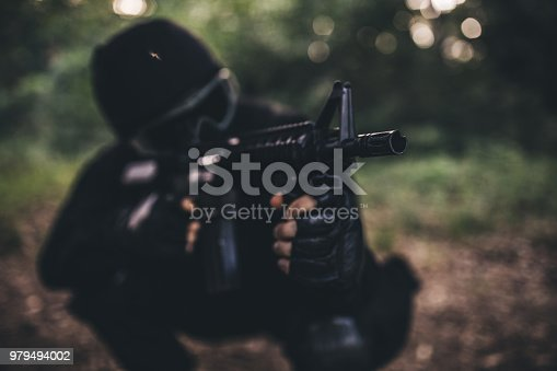 Army soldier in the forest
