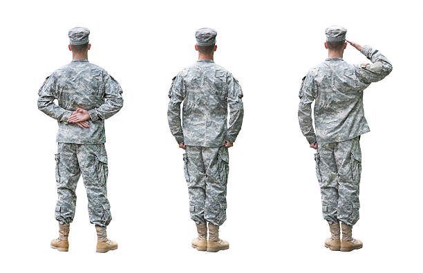 us army soldier in three positions isolated on white background - saluting stock photos and pictures