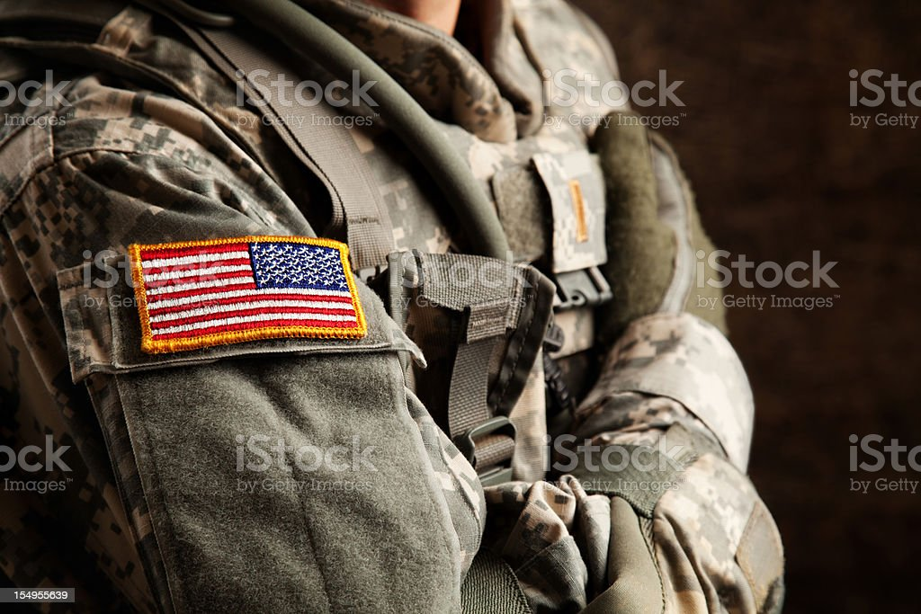 US Army Soldier in Universal Camouflage Uniform stock photo