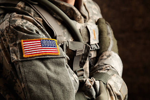 us army soldier in universal camouflage uniform - armed forces stock photos and pictures
