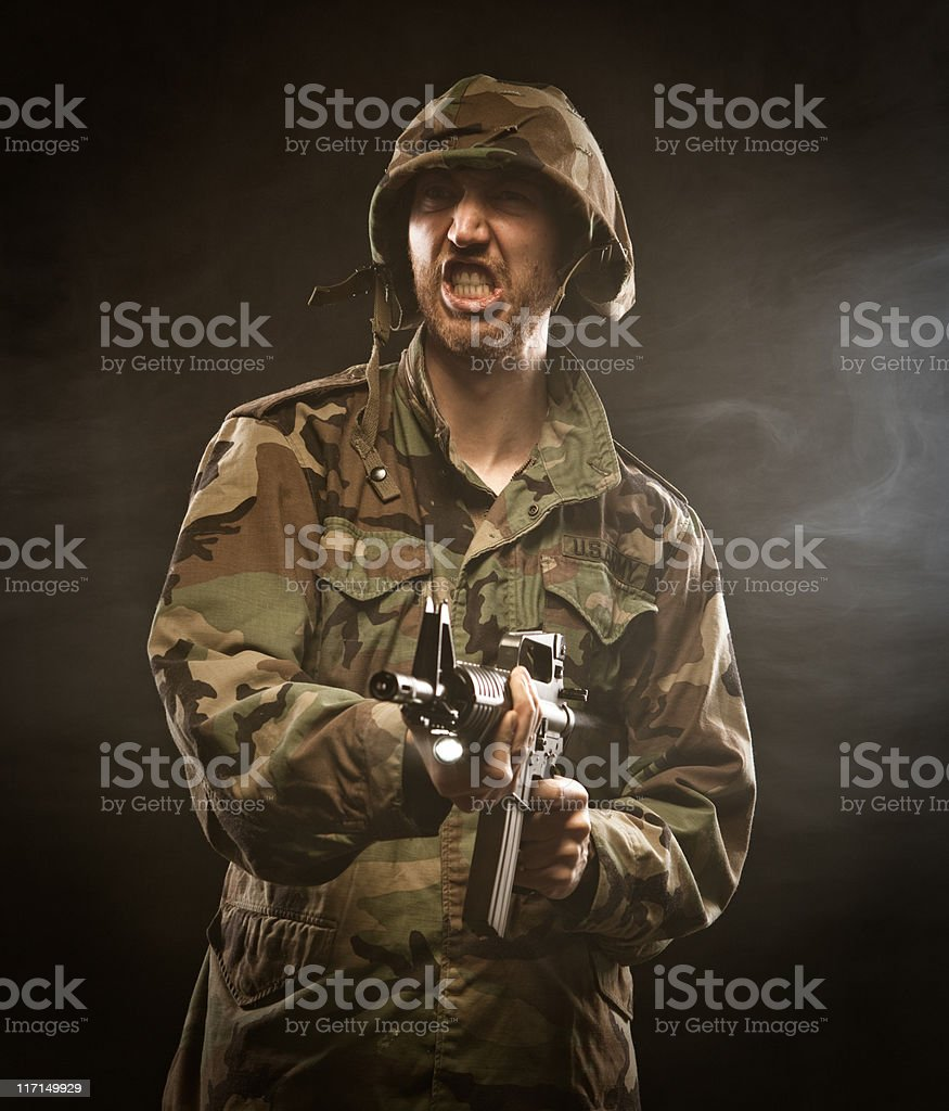 USA Army soldier man in the call of duty patriot