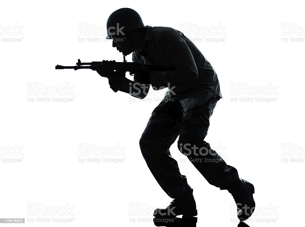 army soldier man on assault stock photo