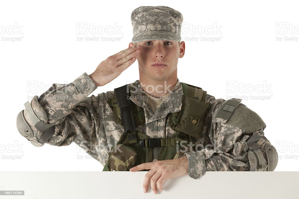 Army soldier saluting stock photo