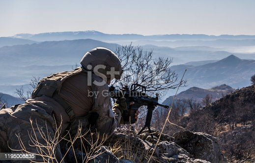 istock Army Soldier  Shooting With Firearm 1195008835