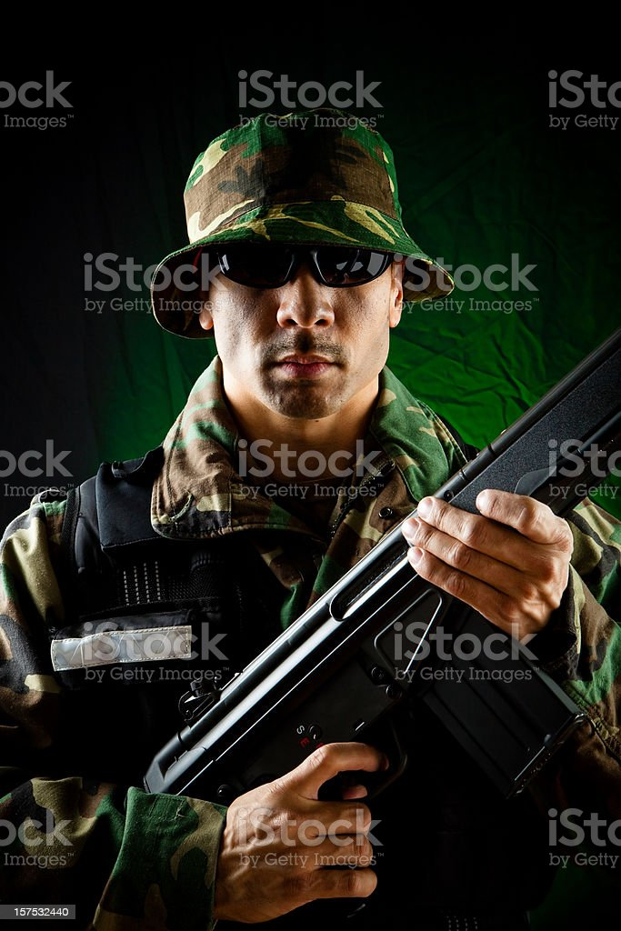 army soldier with sniper rifle portrait royalty-free stock photo