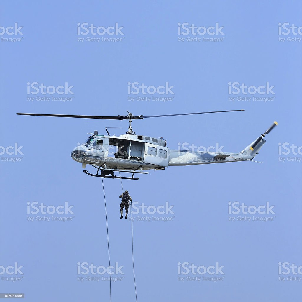 Army soldiers helicopters royalty-free stock photo