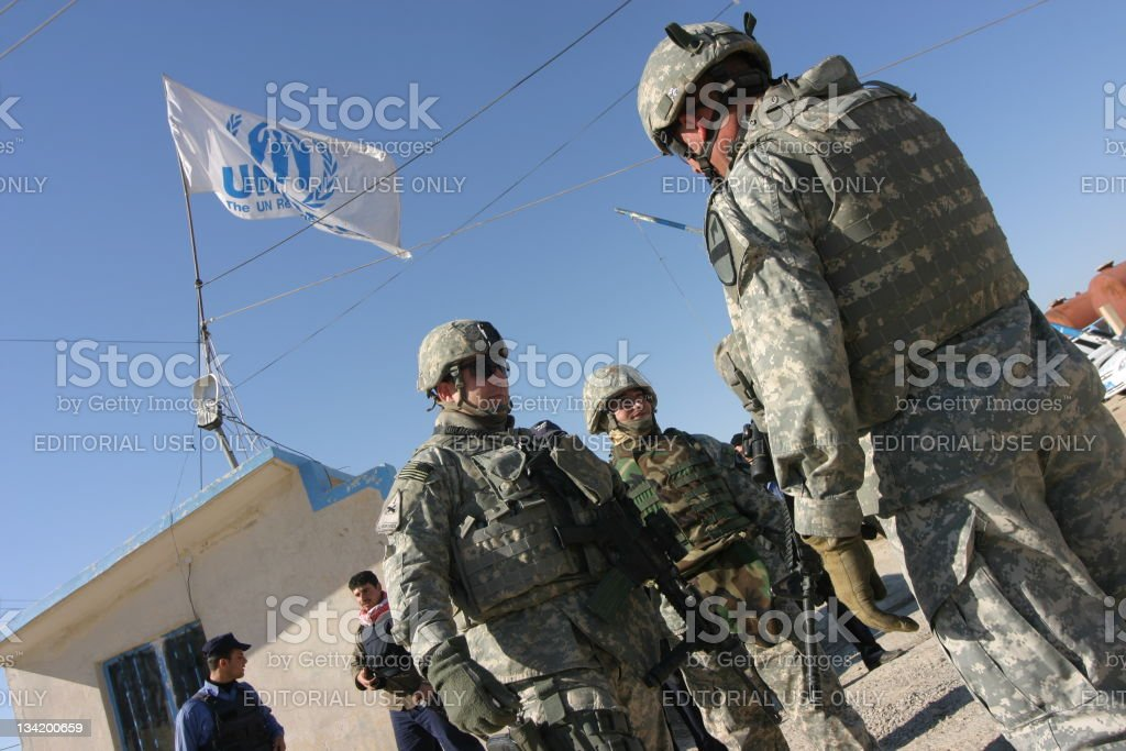 US Army Soldiers in Iraq stock photo