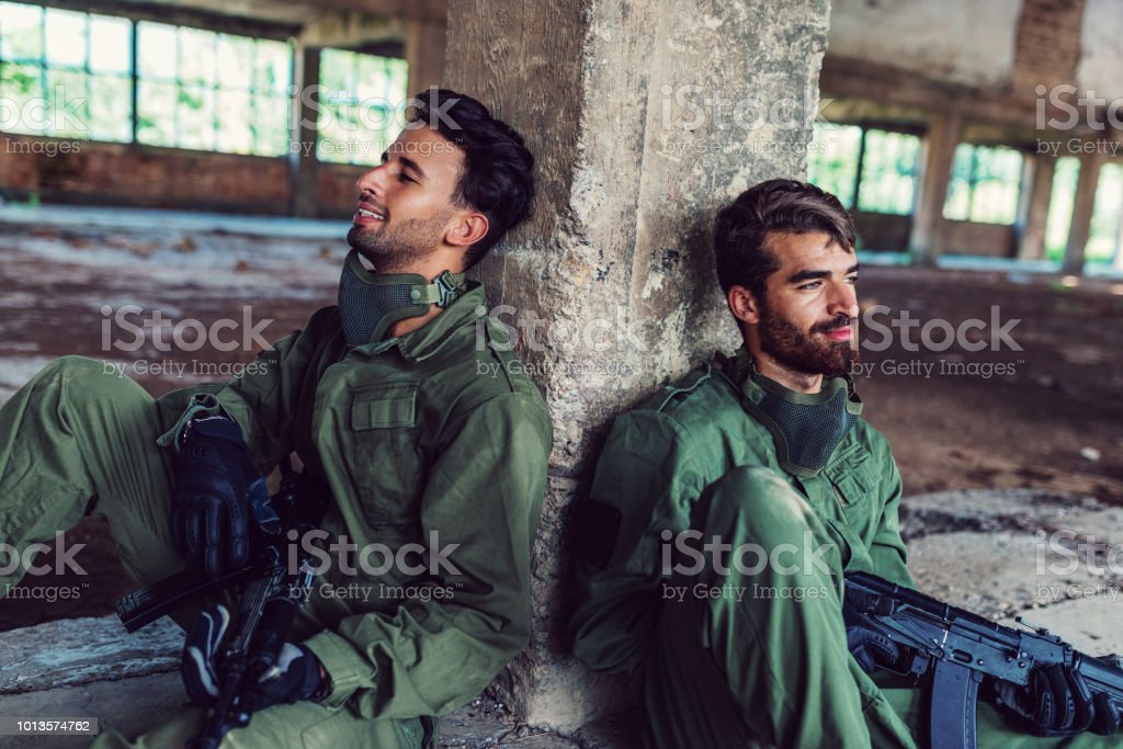 Army soldiers in Middle East stock photo