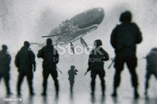 Army squad against flying alien cyborg whale. This is entirely 3D generated image.