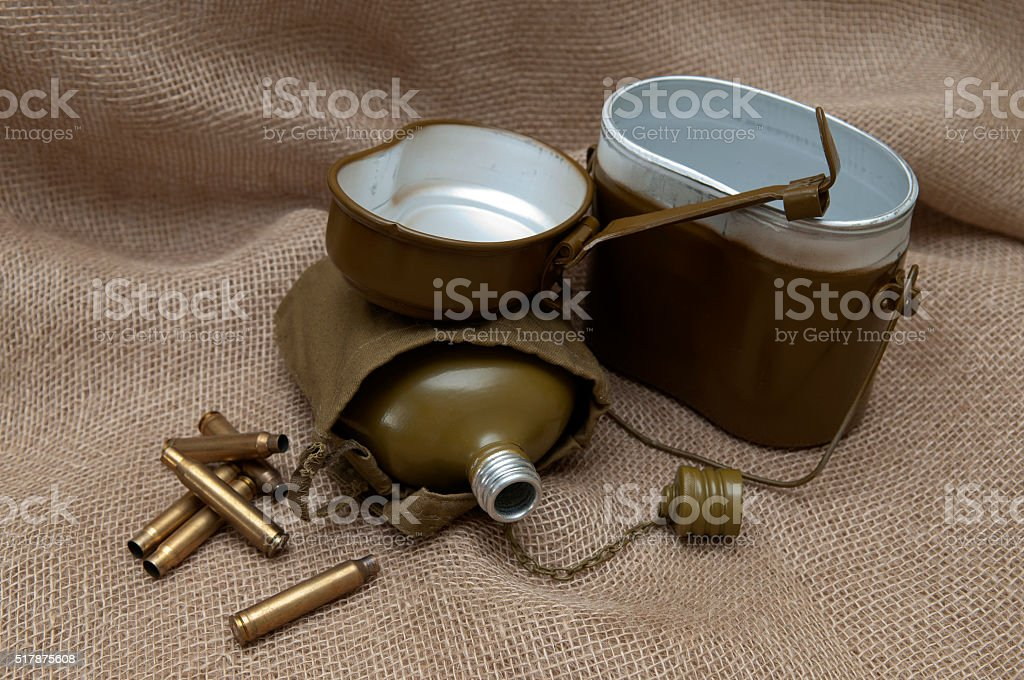 Army still life on the background fabric. stock photo