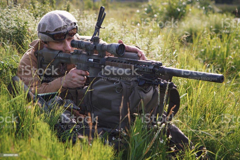 US Army strikeball airsoft warrior stock photo