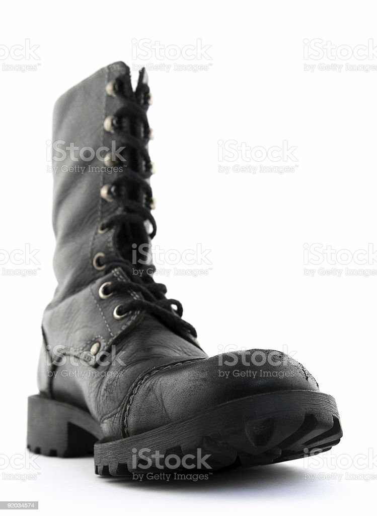 Army style black leather boot royalty-free stock photo
