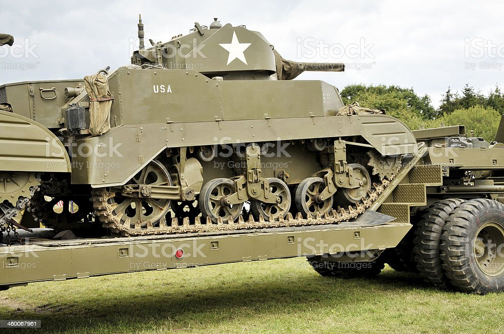 WW2 US Army Tanks And Transporter royalty-free stock photo
