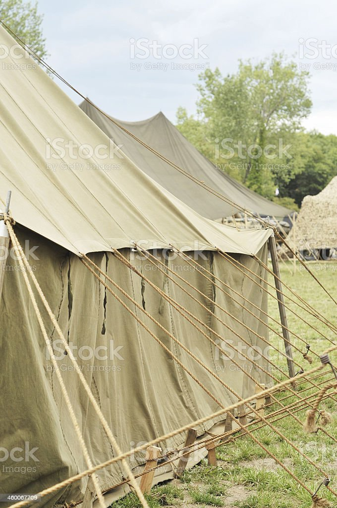 Army Tents At Military Camp stock photo