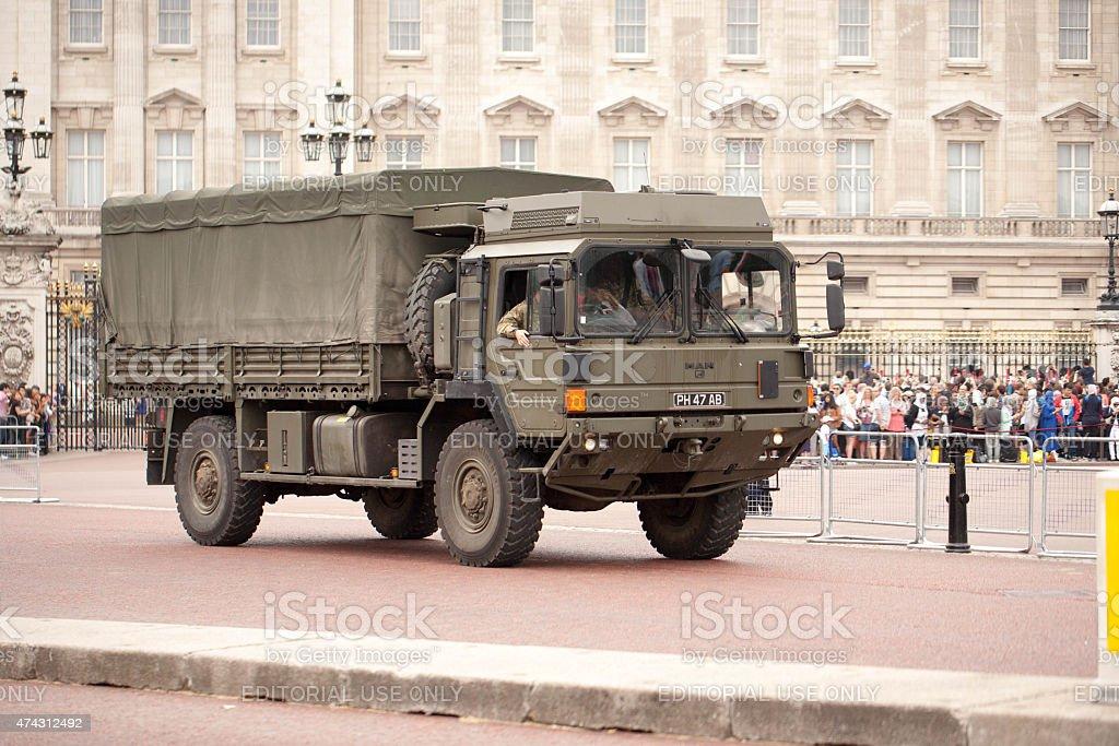 Army truck patrolling just outside Buckingham Palace stock photo