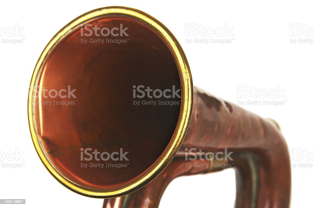 Army Type Copper Bugle Isolated On White royalty-free stock photo