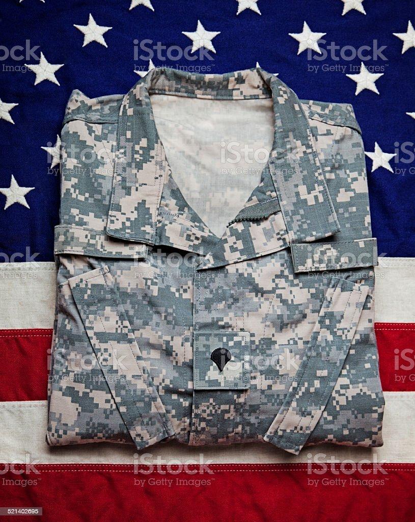US Army Uniform & Flag stock photo