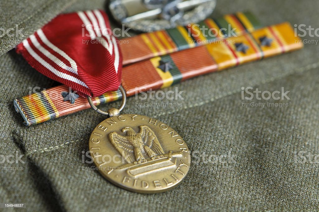 WW II US Army Uniform with Medals stock photo